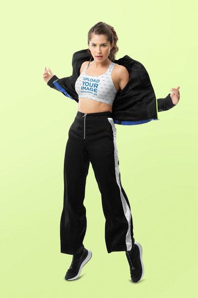 Sports Bra Mockup of a Woman in Movement at a Studio m10749
