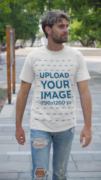 T-Shirt Video of a Man Walking Around a Park 3647v