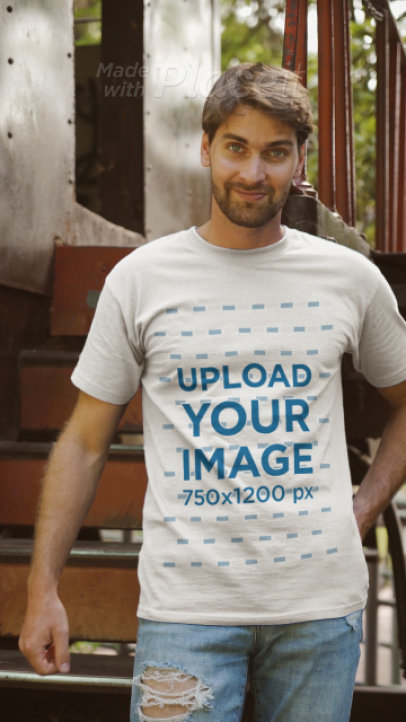 T-Shirt Video of a Man Posing by an Abandoned Train 3642v