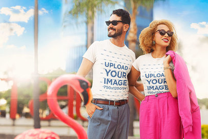 T-Shirt Mockup Featuring a Man and a Woman in a Miami-Inspired Setting m12038