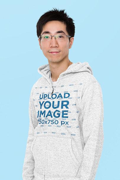 Mockup of a Man Wearing Glasses and a Ful-Zip Heather Hoodie m7926-r-el2