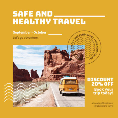 Instagram Post Creator for Travel Companies Featuring a Healthy Travel Message 4253a-el1