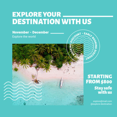 Instagram Post Design Creator Featuring a Travel Theme and a Safety Message 4253d-el1