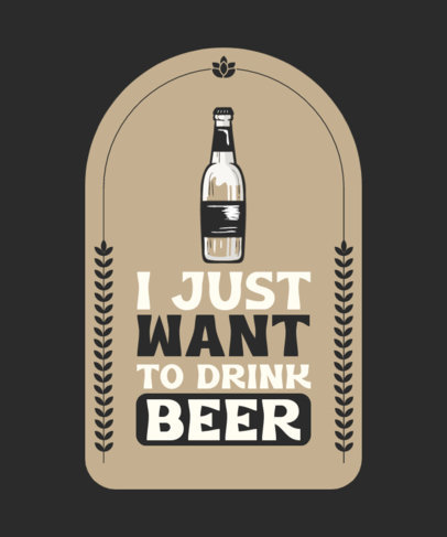 T-Shirt Design Template Featuring a Beer Quote with a Bottle Icon 4233a-el1