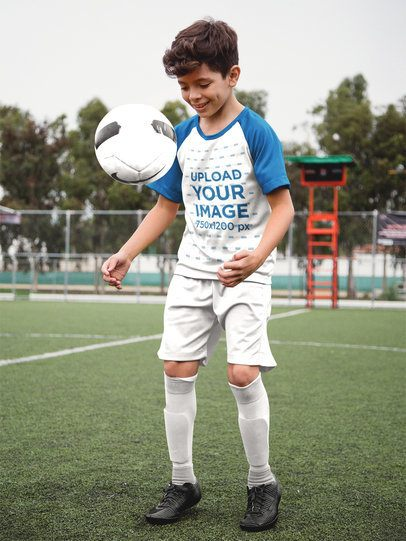 Custom Soccer Jerseys - Happy Kid Playing with the Ball a16602