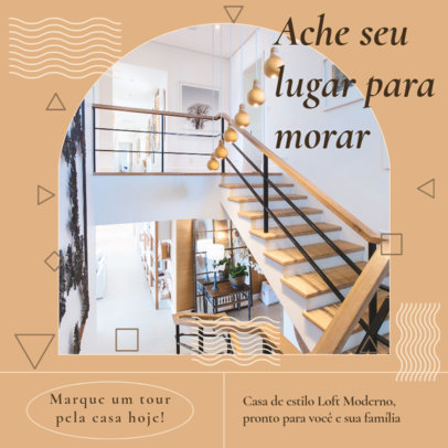 Instagram Post Template for Realtors Featuring Geometric Shapes and a Simple Layout 3908f