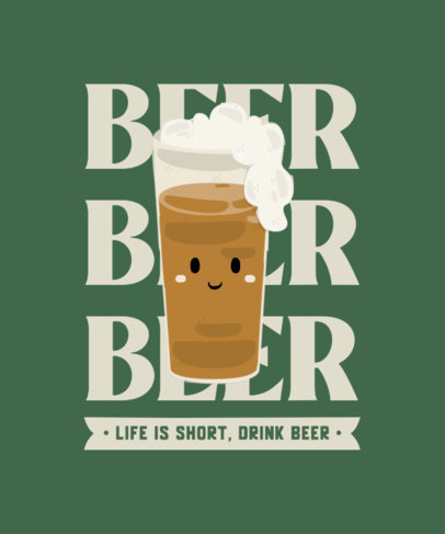 T-Shirt Design Template Featuring a Funny Beer Character 4229d-el1