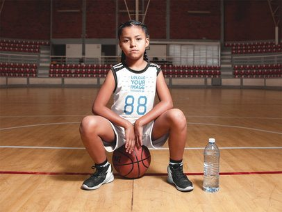 Basketball Jersey Maker - Girl Sitting on the Ball a16631