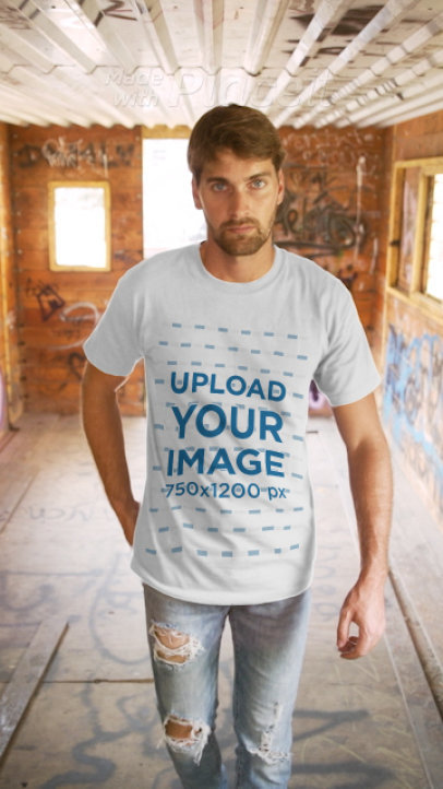 T-Shirt Video of a Man Walking in an Abandoned House 3648v