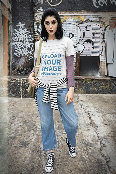 T-Shirt Mockup Featuring a Woman and a Grunge Aesthetic m12544