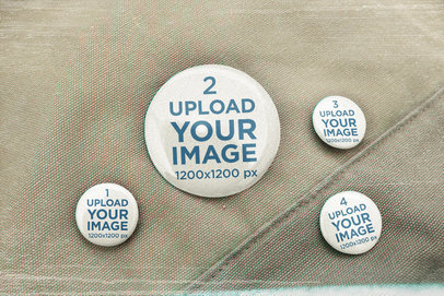 Mockup Featuring Four Buttons on a Canvas Fabric m12555