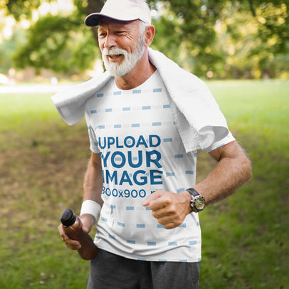 T-Shirt Mockup of an Elder Man Running at a Park 41814-r-el2