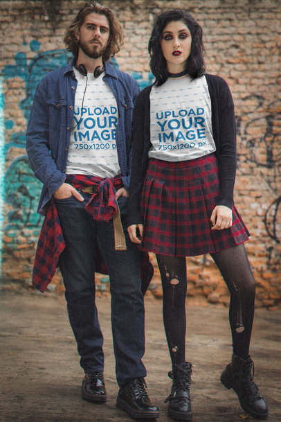 T-Shirt Mockup of a Man and a Woman in Dark Grunge-Aesthetic Outfits M12540
