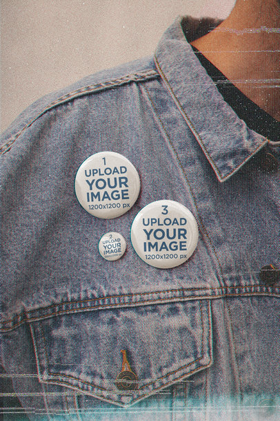 Retro-Styled Button Mockup Featuring a Man at a Studio m12558