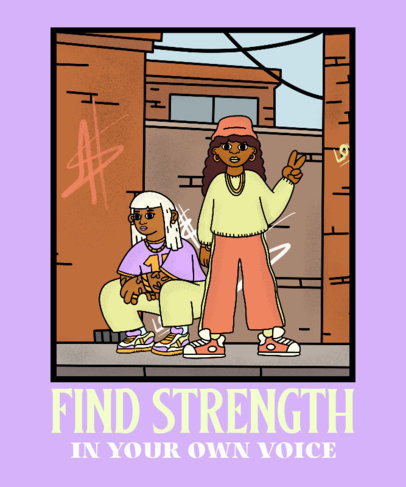 T-Shirt Design Maker Featuring a Cartoon Inspired by Hip-Hop Culture 3900b