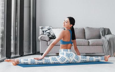 Leggings Mockup of a Woman Doing a Full Split in Her Living Room M8929-r-el2