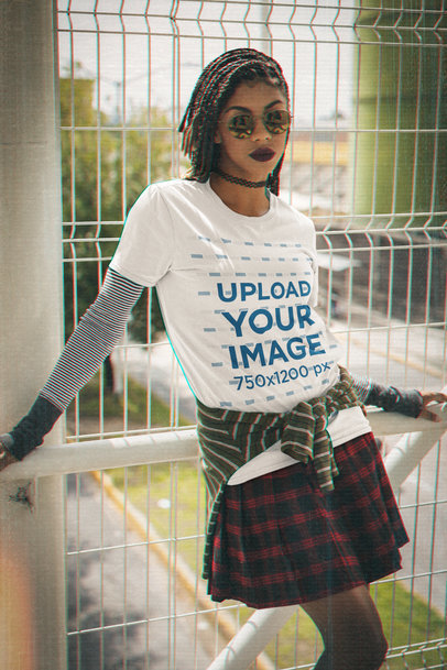 T-Shirt Mockup of a Woman with a '90s-Styled Outfit M12517