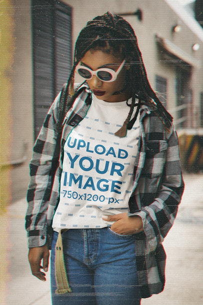 T-Shirt Mockup of a Woman Wearing a Grunge-Inspired Outfit M12524
