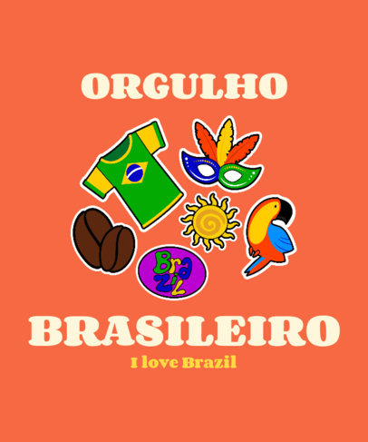 Brazilian T-Shirt Design Template with a Patriotic Theme 3951
