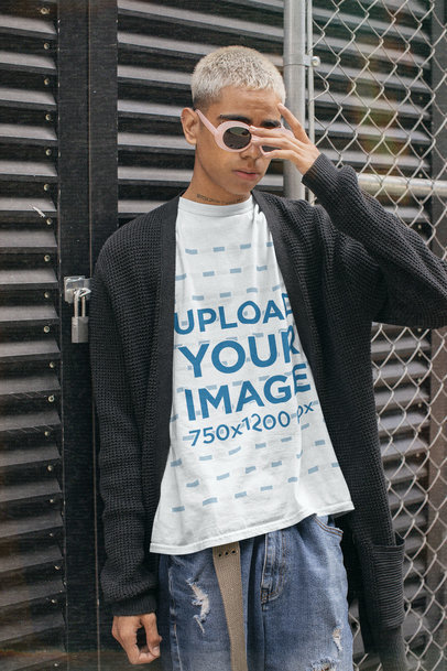 T-Shirt Mockup Featuring a Young Man With Retro Sunglasses and a Neck Tattoo m12513
