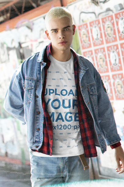 Bella Canvas T-Shirt Mockup of a Man with a Grunge-Infused Outfit m12763