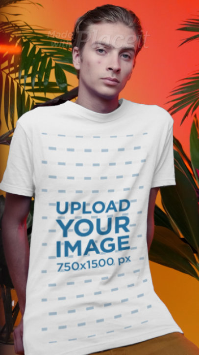 T-Shirt Video Featuring a Man Posing by Some Tropical Plants 3737v