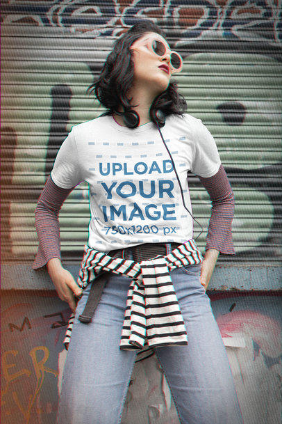 T-Shirt Mockup of a Cool Woman Wearing a Grunge-Style Outfit m12546