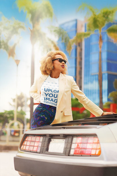 80s-Themed T-Shirt Mockup of a Woman Posing with a Retro Car m12030