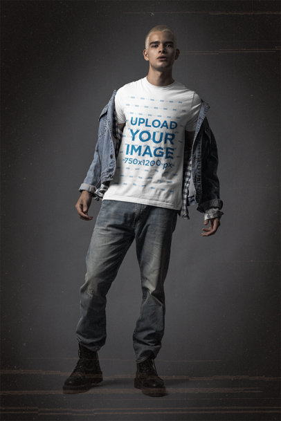 Mockup of a Man Wearing a Grunge-Style Outfit with a Bella Canvas 3001 T-Shirt m12700