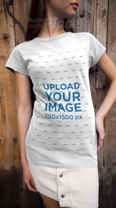 T-Shirt Video of a Woman Posing in Front of a Wooden Background 3665v