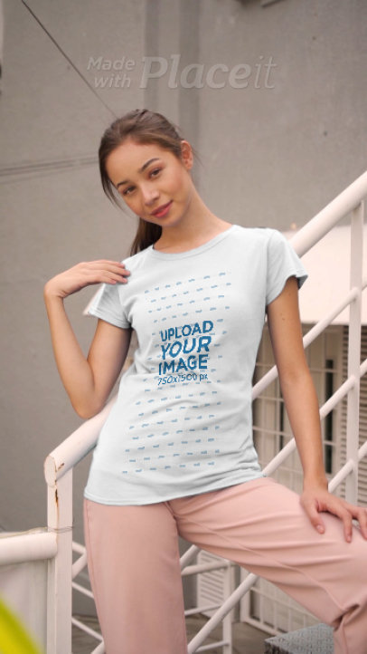 T-Shirt Video Featuring a Woman Walking Down Some Stairs 3671v