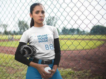 Custom Softball Jerseys - Woman Holding the Ball Outside the Field a16721