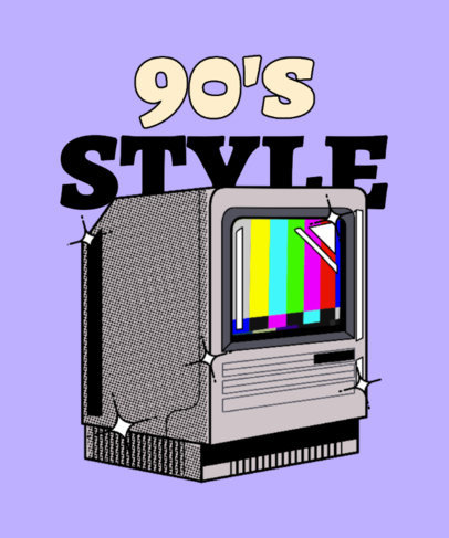 90's-Themed T-Shirt Design Template with a Retro Television 3938h
