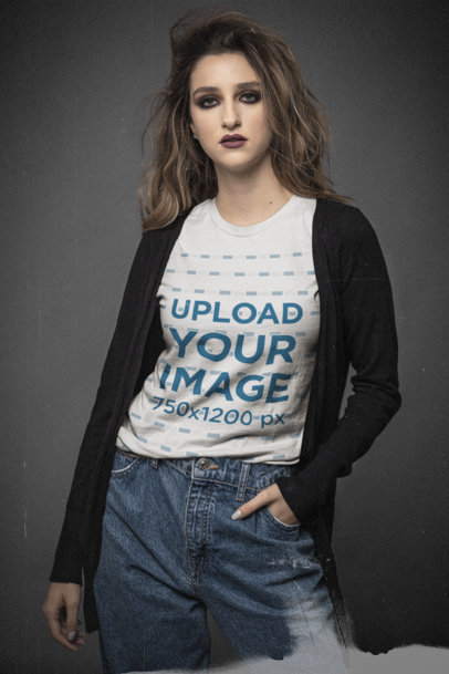 Bella Canvas T-Shirt Mockup Featuring a Serious Young Woman at a Studio m12740
