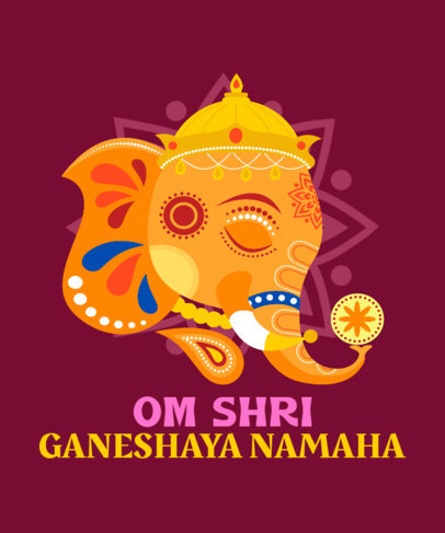 Quote  T-Shirt Design Template Featuring an Illustration of Ganesha 3947a