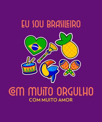 Fun T-Shirt Design Template Celebrating Brazilian Heritage 3951d