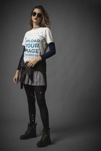 Bella Canvas T-Shirt Mockup Featuring a Confident Woman With a 90s Grunge Look m12746