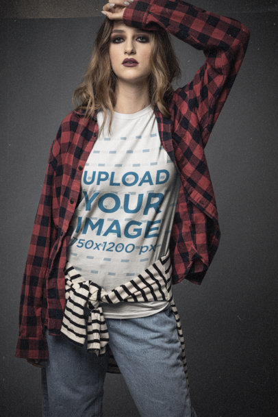 90s-Styled T-Shirt Mockup Featuring a Young Woman Wearing a Bella Canvas T-Shirt m12743