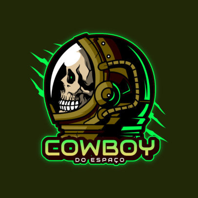 Gaming Logo Template with a Graphic of an Astronaut's Skull 4563B
