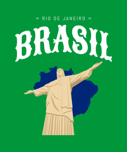 T-Shirt Design Template Featuring an Illustration of Rio's Christ the Redeemer Statue 3952a
