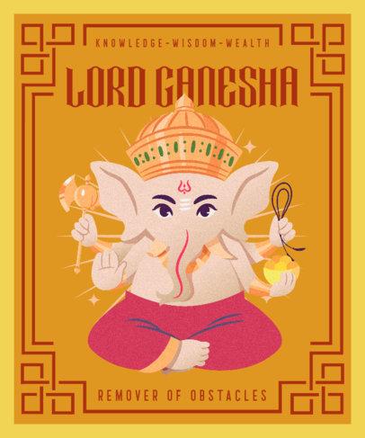Ganesh Chaturthi-Themed T-Shirt Design Maker With an Illustration 3948b