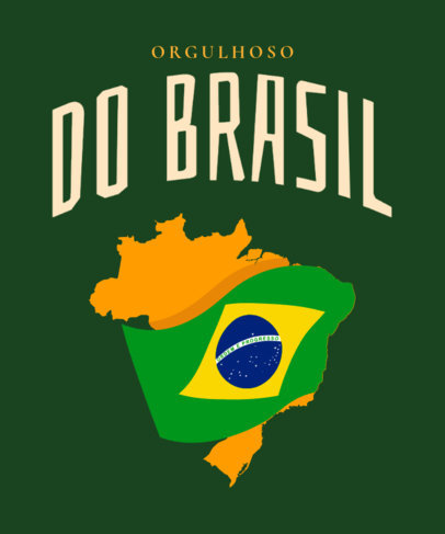 T-Shirt Design Generator Featuring a Brazilian Flag Clipart and a Map 3952f