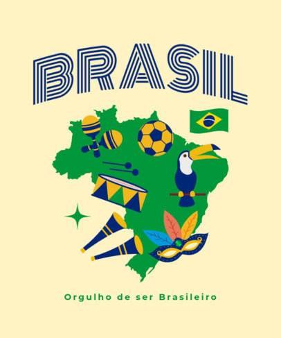 T-Shirt Design Maker With a Patriotic Message and an Illustrated Map of Brazil 3952d