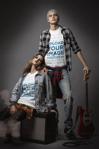 Mockup Featuring Two Young Grunge Musicians Wearing Bella Canvas T-Shirts m12734