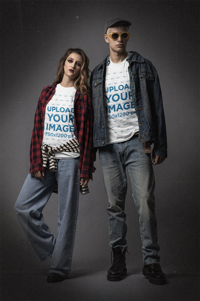 Bella Canvas Tee Mockup of a Couple in 90's Grunge Outfits m12731
