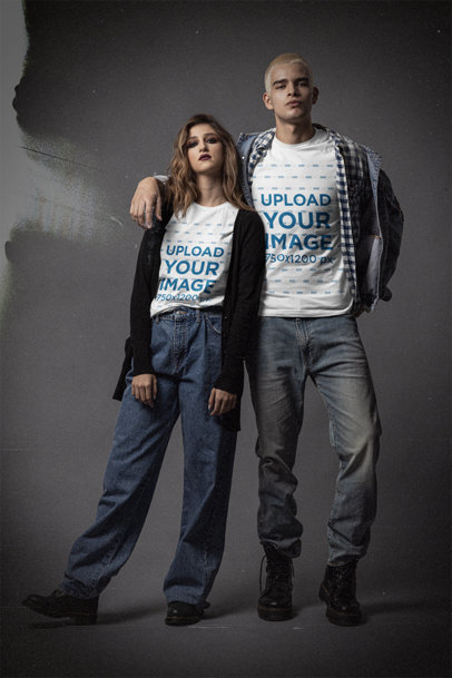 Mockup of a Couple Wearing Bella Canvas T-Shirts with a 90's Grunge Style m12729