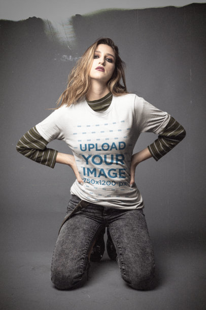 Bella Canvas Tee Mockup of a Woman Wearing a 90's Grunge Look M12754