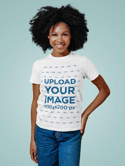 T-Shirt Mockup of a Woman with Voluminous Hair Posing in a Studio m12680-r-el2