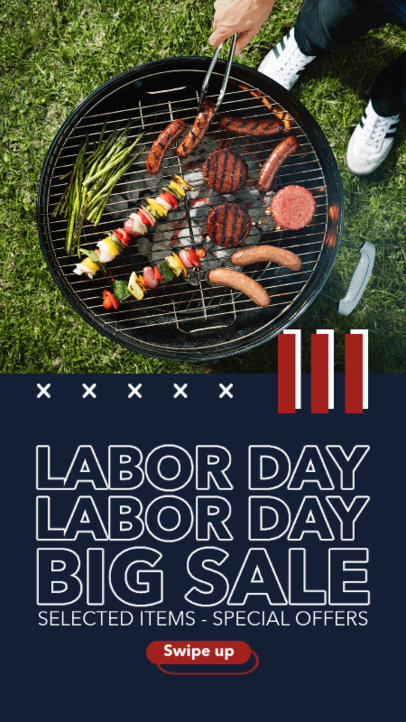 Instagram Story Template Featuring Labor Day Offers for Grill Products 4322-el1