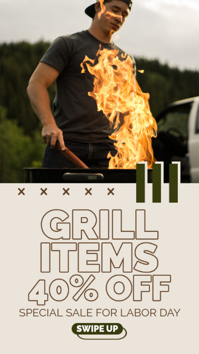 Instagram Story Maker Featuring a Special Labor Day Sale for a Grill Store 4322c-el1